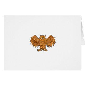 De boze Uitgespreide Tekening van de Uil Vleugels Briefkaarten 0