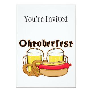 De Braadworst & het Bier van Oktoberfest 12,7x17,8 Uitnodiging Kaart