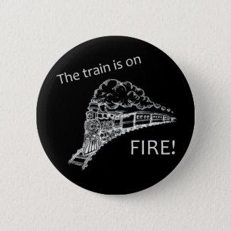 De Brand van de trein Ronde Button 5,7 Cm