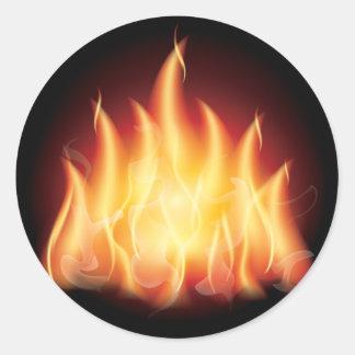 De Brand van de Vlam van het kampvuur Ronde Sticker