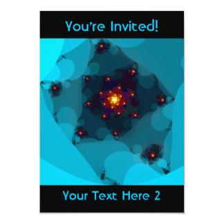 De Brand van het ijs. Fractal Art. Blauw 12,7x17,8 Uitnodiging Kaart