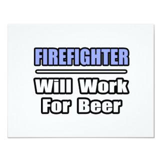 De brandbestrijder zal… voor Bier werken 10,8x13,9 Uitnodiging Kaart