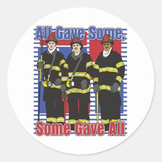 De brandbestrijders wat gaven allen ronde sticker