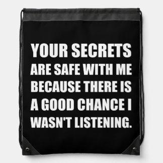 De Brandkast van geheimen met me omdat Luisterend Trekkoord Rugzakje