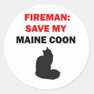 De brandweerman bewaart Mijn Kat van de Wasbeer va Ronde Sticker