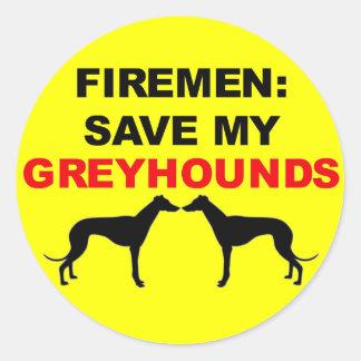 De brandweerman bewaart Mijn Windhonden Ronde Stickers