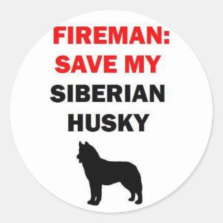 De brandweerman redt Mijn Schor Siberiër Ronde Sticker
