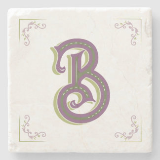 De Brief B, Elegante Vintage Stijl van het Stenen Onderzetter