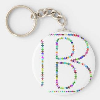 De Brief B van de Ster van de regenboog Basic Ronde Button Sleutelhanger