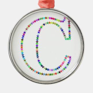De Brief C van de Ster van de regenboog Zilverkleurig Rond Ornament
