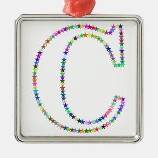 De Brief C van de Ster van de regenboog Zilverkleurig Vierkant Ornament