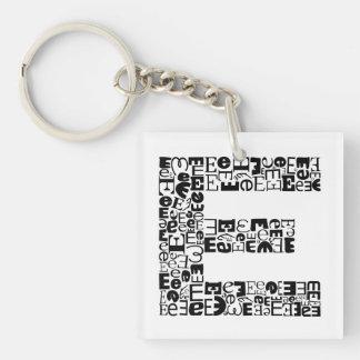 De brief E van het Alfabet Sleutelhanger