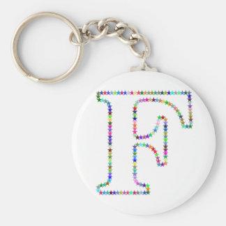 De Brief F van de Ster van de regenboog Basic Ronde Button Sleutelhanger