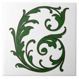 De Brief G van het blad in de Groene Tegel van het Keramisch Tegeltje