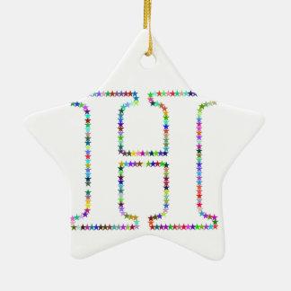 De Brief H van de Ster van de regenboog Keramisch Ster Ornament