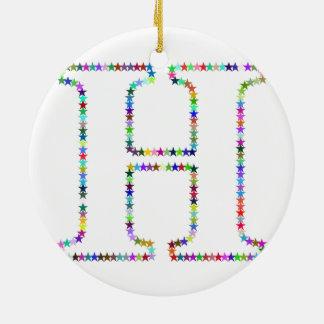 De Brief H van de Ster van de regenboog Rond Keramisch Ornament