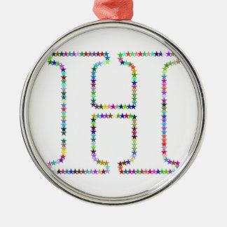 De Brief H van de Ster van de regenboog Zilverkleurig Rond Ornament