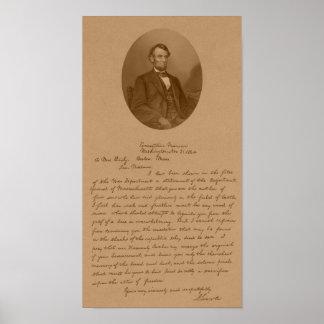 De Brief van Abraham Lincoln aan Mevr. Bixby Poster
