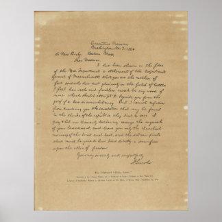 De Brief van Abraham Lincoln van het president aan Poster
