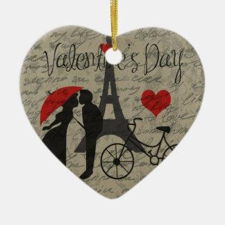 De brief van de liefde - Parijs Keramisch Hart Ornament