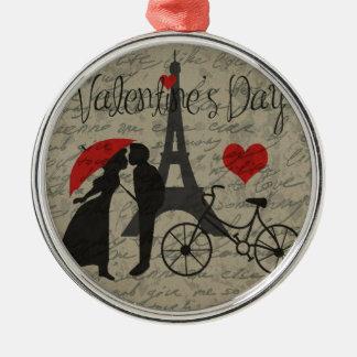 De brief van de liefde - Parijs Zilverkleurig Rond Ornament