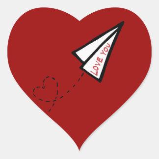 De Brief van de Liefde van het Vliegtuig van de Lu Hartvormige Sticker