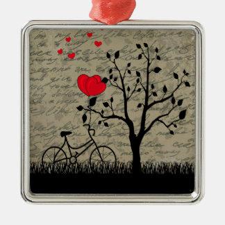 De brief van de liefde zilverkleurig vierkant ornament