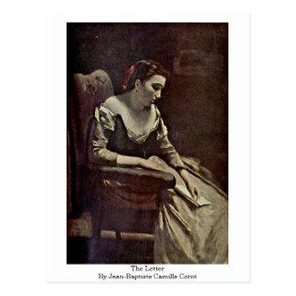 De brief van Jean-Baptiste Camille Corot Briefkaart
