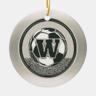 De Brief W van het Monogram van het Voetbal van de Rond Keramisch Ornament