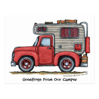 De Briefkaarten van de Kampeerauto rv van de