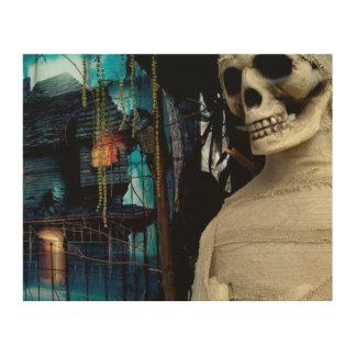 De Brij van Halloween en Griezelig Huis Foto Op Hout