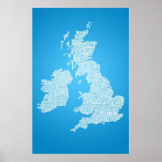 De Britse Eilanden is het Woord Poster