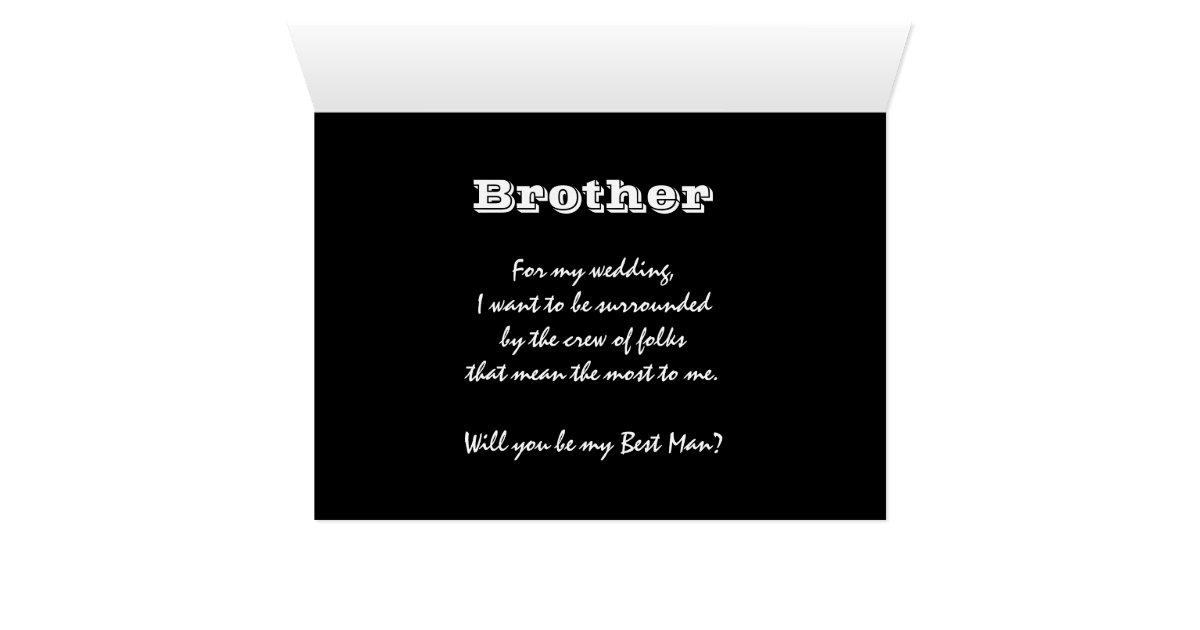 De broer speciaal verzoek is mijn getuige wenskaart zazzle - Mijn home design ...