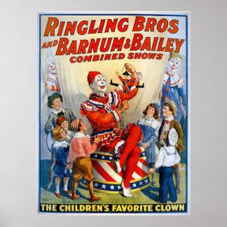 De Broers van Ringling & Barnum & de Vintage Clown Poster