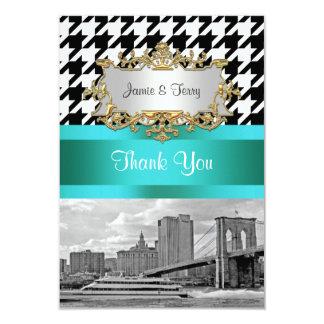 De Brug Blk Wht Houndstooth 2 van Brooklyn dankt u 8,9x12,7 Uitnodiging Kaart