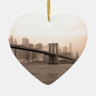 De Brug New York van Brooklyn Keramisch Hart Ornament
