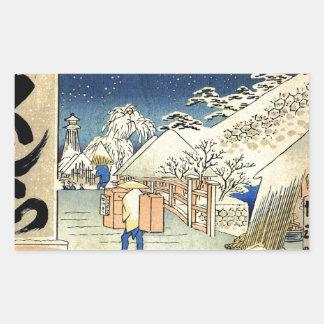 De Brug van Bikuni in sneeuw door Hiroshige.jpg Rechthoekige Sticker
