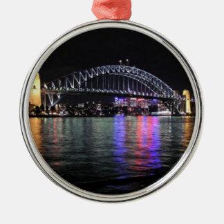 De Brug van de Haven van Sydney bij Nacht Zilverkleurig Rond Ornament