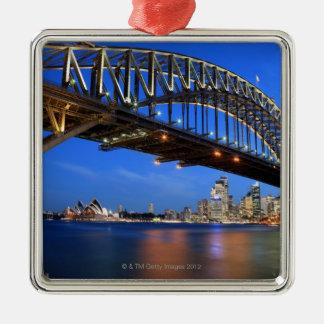 De Brug van de Haven van Sydney, het Huis van de Zilverkleurig Vierkant Ornament