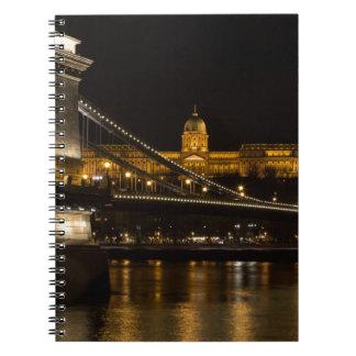 De Brug van de ketting met Buda Kasteel Hongarije Ringband Notitieboek