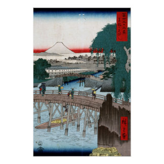 De Brug van Hiroshige Ichikobu van Utagawa Poster
