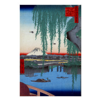 De Brug van Hiroshige Yatsumi van Utagawa Poster