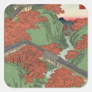 De Brug van Tsūten, Tempel Tōfukuji bij Kyōto. Vierkante Sticker