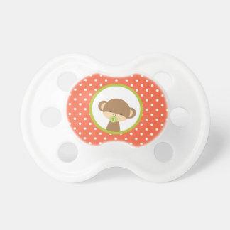 De bruine Aap van het Baby op Oranje Stippen Fopspeen
