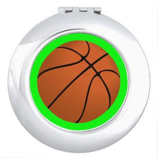 De bruine Bal van het Basketbal op Groen Limoen Handtas Spiegeltje