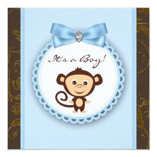 De bruine Blauwe Douche van de Jongen van het Baby 13,3x13,3 Vierkante Uitnodiging Kaart