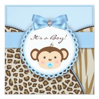 De bruine Blauwe Douche van de Jongen van het Baby Kaart
