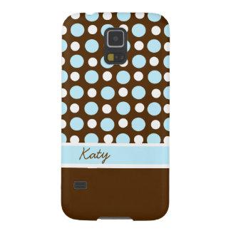 De bruine, Blauwe, en Witte Douane van de Stip Galaxy S5 Hoesje