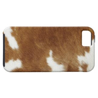 De bruine Druk van het Koeienhuid Tough iPhone 5 Hoesje