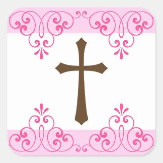 De bruine dwars roze eerste kerkgemeenschap van vierkante sticker